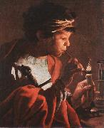 Boy Lighting a Pipe aer